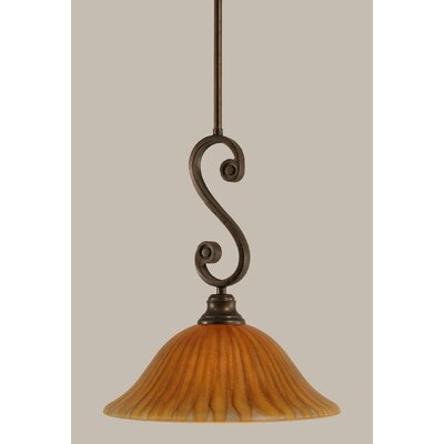 Babin Mini Pendant With Hang Straight Swivel Size: 12 W, Shade Color: Tiger Glass