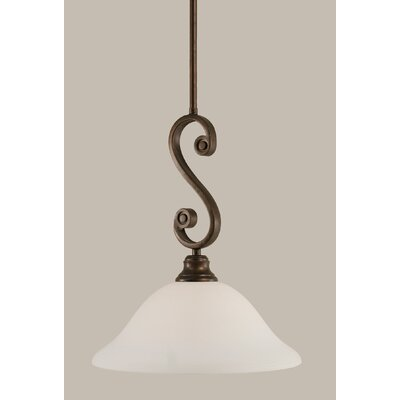 Babin 1-Light Mini Pendant Shade Color: White, Size: 16.5 H x 12 W