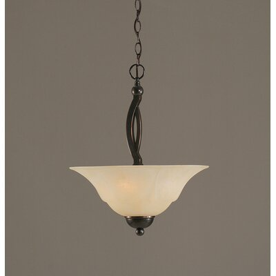 Blankenship 2-Light Steel Inverted Pendant Color: Black Copper, Shade Color: Amber