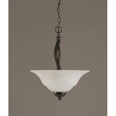 Blankenship 2-Light Steel Inverted Pendant Finish: Black Copper, Shade Color: White