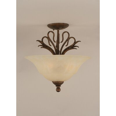 Swan 3-Light Semi Flush Mount Shade Color: Amber
