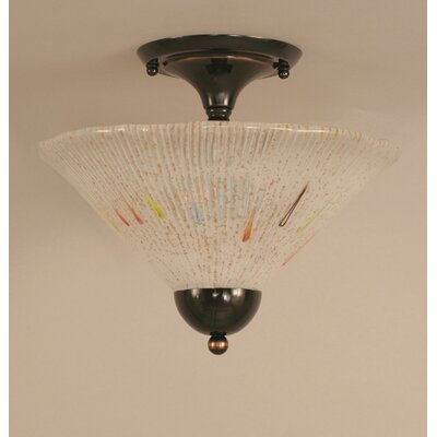2-Light Semi Flush Mount Shade Color: Teal, Finish: Bronze