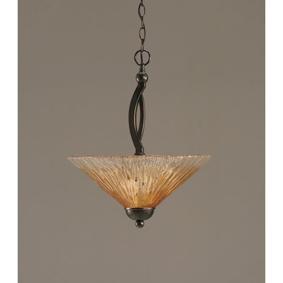 Bow 2-Light Inverted Pendant Finish: Black Copper, Shade Color: Amber