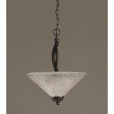 Bow 2-Light Uplight Inverted Pendant Finish: Black Copper, Shade Color: Frosted Crystal