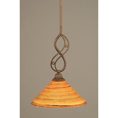 Jazz Mini Pendant With Hang Straight Swivel Finish: Bronze, Shade Color: Firr� Saturn Glass, Size: 12 W