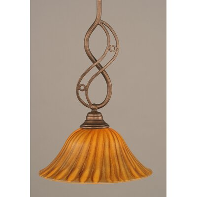 Jazz Mini Pendant With Hang Straight Swivel Finish: Bronze, Size: 10 W, Shade Color: Tiger Glass