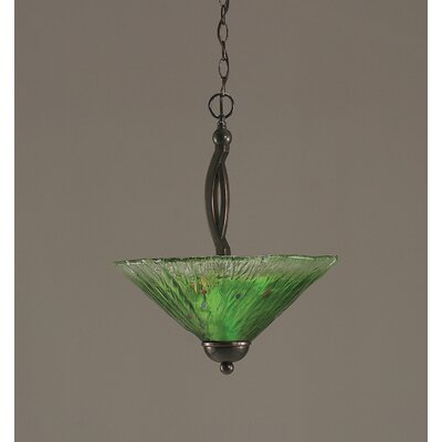 Bow 2-Light Inverted Pendant Finish: Black Copper, Shade Color: Kiwi Green