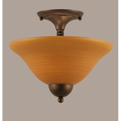 2-Light Semi Flush Mount Shade Color: White, Finish: Bronze