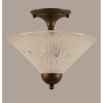 2-Light Semi Flush Mount Finish: Bronze, Shade Color: Frosted
