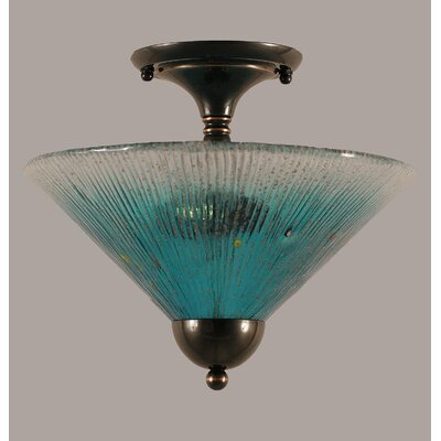 2-Light Semi Flush Mount Finish: Black Copper, Shade Color: Teal