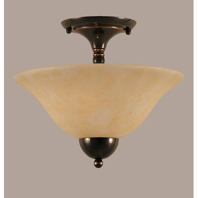2-Light Semi Flush Mount Finish: Black Copper, Shade Color: Amber