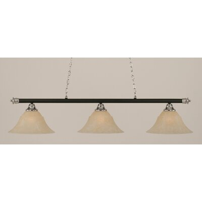 Oxford 3-Light Billiard Light Finish: Chrome and Matte Black, Shade Color: Amber, Size: 12 H x 54 W