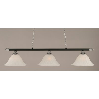 Oxford 3-Light Billiard Light Shade Color: White, Size: 12 H x 54 W, Finish: Chrome and Matte Black