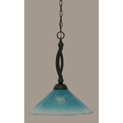 Bow 1-Light Mini Pendant Shade Color: Teal, Size: 19.75 H x 16 W