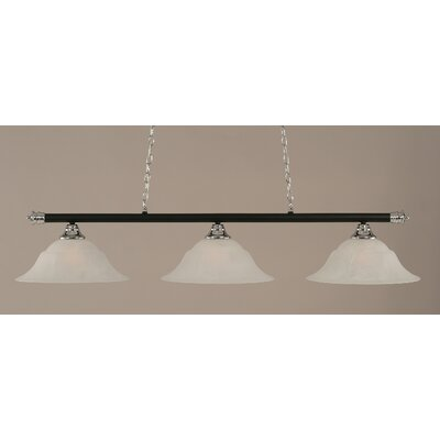 Oxford 3-Light Billiard Light Size: 11.25 H x 56 W, Shade Color: White, Finish: Chrome and Matte Black
