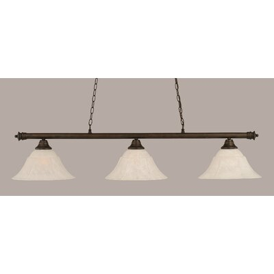 Oxford 3-Light Billiard Light Finish: Bronze, Shade Color: White, Size: 12 H x 54 W