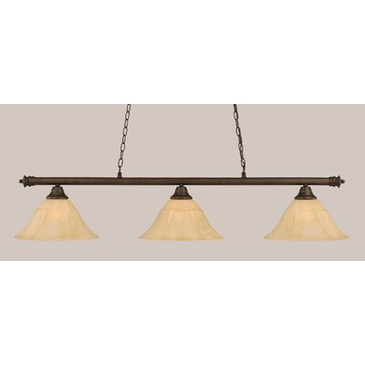 Oxford 3-Light Billiard Light Finish: Bronze, Size: 12 H x 54 W