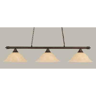 Oxford 3-Light Billiard Light Shade Color: Amber, Size: 12 H x 54 W, Finish: Matte Black