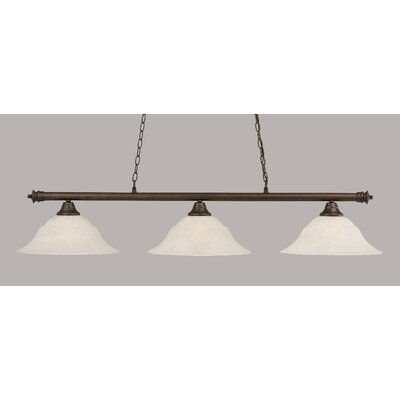 Oxford 3-Light Billiard Light Finish: Bronze, Shade Color: White, Size: 11.25 H x 56 W