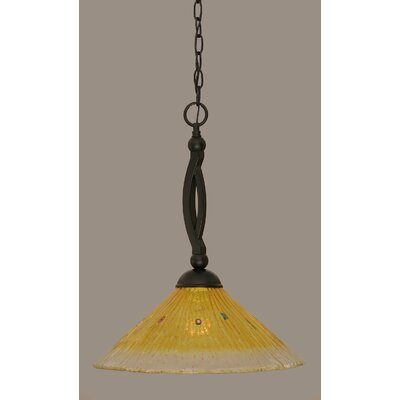Bow 1-Light Mini Pendant Shade Color: Gold Champagne, Size: 19 H x 12 W