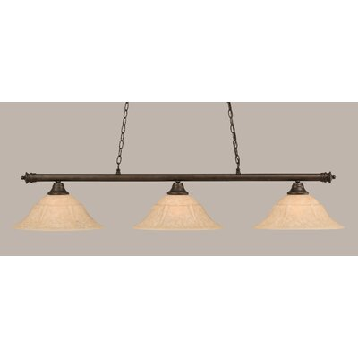 Oxford 3-Light Billiard Light Finish: Bronze, Size: 11.25 H x 55.75 W