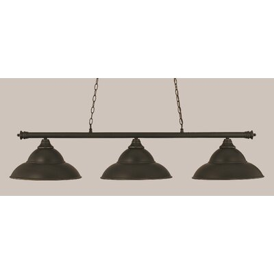 Passabe 3-Light Metal Billiard Light Finish: Dark Granite
