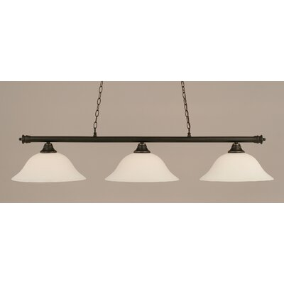 Passabe 3-Light Billiard Light Finish: Dark Granite, Shade Color: White
