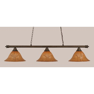 Passabe 3-Light Tiger Shade Billiard Light Finish: Bronze, Size: 12 H x 54 W
