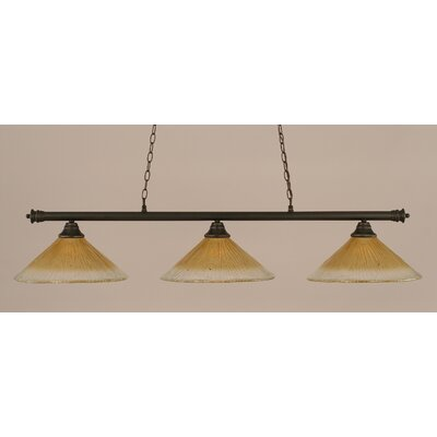 Oxford 3-Light Billiard Light Finish: Dark Granite, Shade Color: Amber
