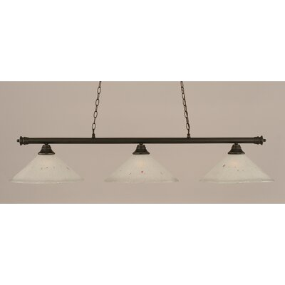 Oxford 3-Light Billiard Light Finish: Dark Granite, Shade Color: Frosted