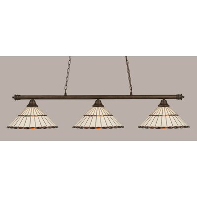 Passabe 3-Light Hardwired Billiard Light Finish: Bronze, Shade Color: Honey and Amber Brown