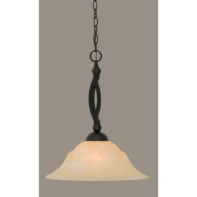 Bow 1-Light Mini Pendant Shade Color: Amber, Size: 19.5 H x 16 W