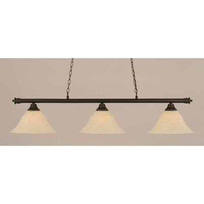 Oxford 3-Light Billiard Light Finish: Dark Granite, Shade Color: Amber, Size: 12 H x 54 W
