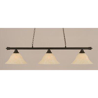 Oxford 3-Light Billiard Light Shade Color: Amber, Finish: Dark Granite, Size: 12 H x 54 W