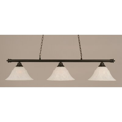 Oxford 3-Light Billiard Light Finish: Dark Granite, Shade Color: White, Size: 12 H x 54 W