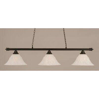 Oxford 3-Light Billiard Light Shade Color: White, Finish: Dark Granite, Size: 12 H x 54 W
