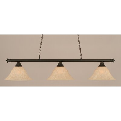 Oxford 3-Light Billiard Light Finish: Dark Granite, Size: 12 H x 54 W