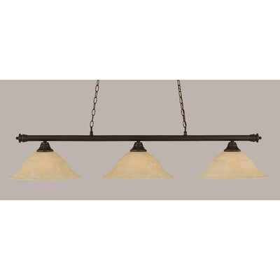Oxford 3-Light Billiard Light Finish: Dark Granite, Shade Color: Amber, Size: 11.25 H x 56 W