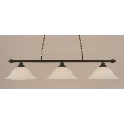 Oxford 3-Light Billiard Light Finish: Dark Granite, Shade Color: White, Size: 11.25 H x 56 W