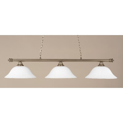 Passabe 3-Light Billiard Light Finish: Brushed Nickel, Shade Color: White