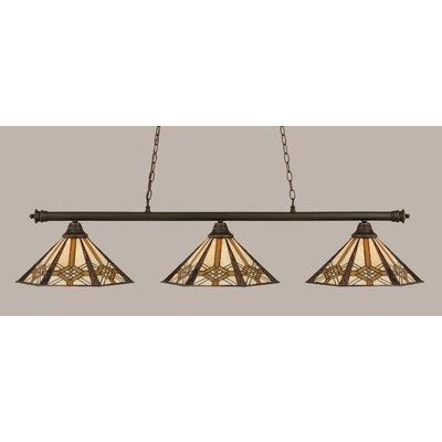 Passabe 3-Light Tiffany Shade Billiard Light Finish: Dark Granite