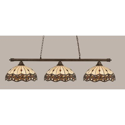 Passabe 3-Light Jewel Tiffany Shade Billiard Light Finish: Bronze