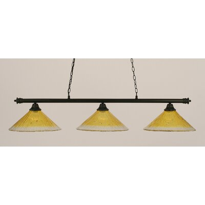 Oxford 3-Light Billiard Light Shade Color: Gold Champagne, Finish: Matte Black