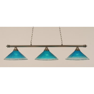 Oxford 3-Light Billiard Light Finish: Brushed Nickel, Shade Color: Teal