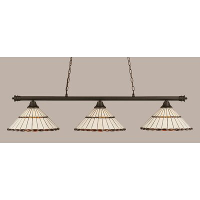 Oxford 3-Light Billiard Light Finish: Dark Granite, Shade Color: Honey and Amber Brown
