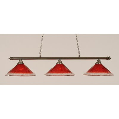 Oxford 3-Light Billiard Light Shade Color: Raspberry, Finish: Brushed Nickel