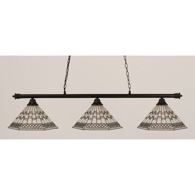 Oxford 3-Light Billiard Light Finish: Chrome and Matte Black
