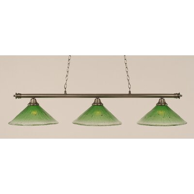 Oxford 3-Light Billiard Light Finish: Brushed Nickel, Shade Color: Kiwi Green