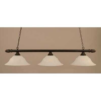 3-Light Pool Table Light Finish: Dark Granite, Shade Color: White