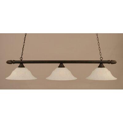 3-Light Pool Table Light Finish: Dark Granite, Shade Color: Amber